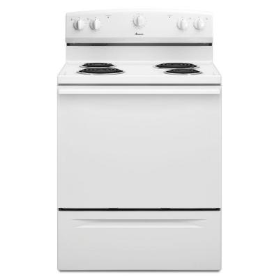 Acr3130baw Monochromatic White Amana 4.8 Cu Ft Exposed Bake 2 8in 2 6in Coil Painted Steel Dr Storage Drawer 2 Racks Std Clean No Clock Range ACR3130BAW,0883049284774,AER,883049284774