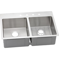 18 Gauge Stainless Steel 22x33x9 Double Bowl Kitchen Sink CATO140,ECTSR33229BG1,94902017839,MFGR VENDOR: ELKAY,PRCH VENDOR: ELKAY,ELKECTSR33229BG