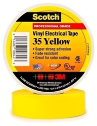 35-yellow34 3m 3/4 X 66 Yellow Vinyl Electrical Tape CAT721,S3566YEL34,35YF,35YELLOW,ETY,YET,ET,054007108443,3MT,10844,3METY,3MET,005400710844,