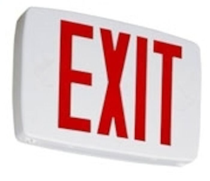 Lqm S W 3 R 120/277 El N M6 White Thermoplastic Led Exit Single Stencil Face With Extra Face Plate Red Letters With Nicad Battery Backup Damp Location CAT753,EXITL,LQMSWR120/277EL,PRB,EXIT,LEER,LQM,75305200,784231011553