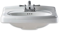 0555104020 As Portsmouth White 24.875 X 19.5 4 In Centerset 3 Hole Pedestal Vanity Top CAT111L,0555104020,PRCH VENDOR: PMI,033056696477