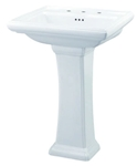 G0012555 Gerber White Logan Square 3 Hole 4 Center Pedestal Sink CAT132S,G0012555,671052046034,12555,671052046034,GER12555