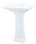 G0012559 Gerber White Logan Square 3 Hole 8 Center Pedestal Sink CAT132S,G0012559,671052045976,671052047208,671052045976,671052045976,12559