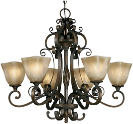 3890-6 D-w-o Gb Meridian 6 Lt Golden Bronze Antique Marbled Glass Shade Chandelier CATGOL,3890-6 GB,844375002227