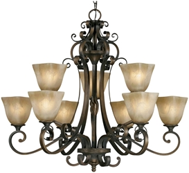 3890-9 D-w-o Gb Meridian 9 Lt Golden Bronze Antique Marbled Glass Shade Chandelier CATGOL,3890-9 GB,844375002234