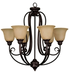 Fch-6ts-rb Frisco 6 Lt Oil Rubbed Bronze Body Tea Stained Glass Metal Chandelier CATSUN,FCH-6TS-RB,FCH-6TS-RB,78692912951