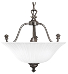 P3607-77 Renovations 3 Lt Forged Bronze Steel Body Etched Glass Bowl Semi Flush Mount CAT731,P3607-77,P3607-77,785247122363