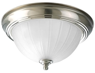 P3816-09 Melon 1 Lt Brushed Nickel Steel Body Etched Ribbed Glass Bowl Semi Flush Mount CAT731,P3816-09,785247147243