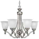 P4115-81 Renovations 5 Lt Antique Nickel Steel Body Etched Glass Shade Chandelier CAT731,P4115-81,P4115-81,785247115631