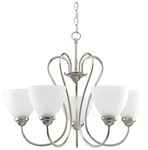 P4666-09 Heart 5 Lt Brushed Nickel Steel Body Etched Glass Shade Chandelier CAT731,P4666-09,785247169030