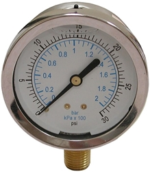 "0-30psi 2-1/2"" Liquid Filled Pressure Gauge CAT250,J40553,25002200,G030,1772,LFG030,GTG,LFG30,717510405538,"