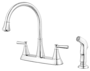 Pfist Cantara Ada Pol Chrome Lf 8 In Centerset 3 Or 4 Hole 2 Handle Kitchen Faucet With Matching Side Spray CAT162,MFGR VENDOR: PFISTER,PRCH VENDOR: PFISTER,F0364CRC,