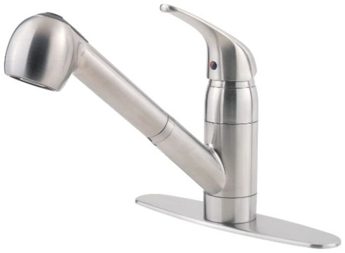 Pfist Series Ada Stainless Lf 8 In Centerset 1 Or 3 Hole 1 Handle Kitchen Faucet 2 Function Pull Out Spray CAT162Q,G13310SS,038877548776,38877548776,