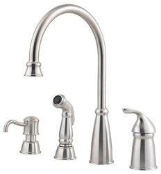 Avalon Ada Stainless Lf 4 To 10 In Widespread 3 Or 4 Hole 1 Handle Kitchen Faucet With Matching Side Spray CAT162Q,GT264CBS,038877546482,T264CBS,T26-4CBS,38877546482,