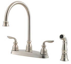 Pfist Avalon Ada Stainless Lf 8 In Centerset 4 Hole 2 Handle Kitchen Faucet With Matching Side Spray CAT162Q,GT364CBS,038877546468,38877546468,